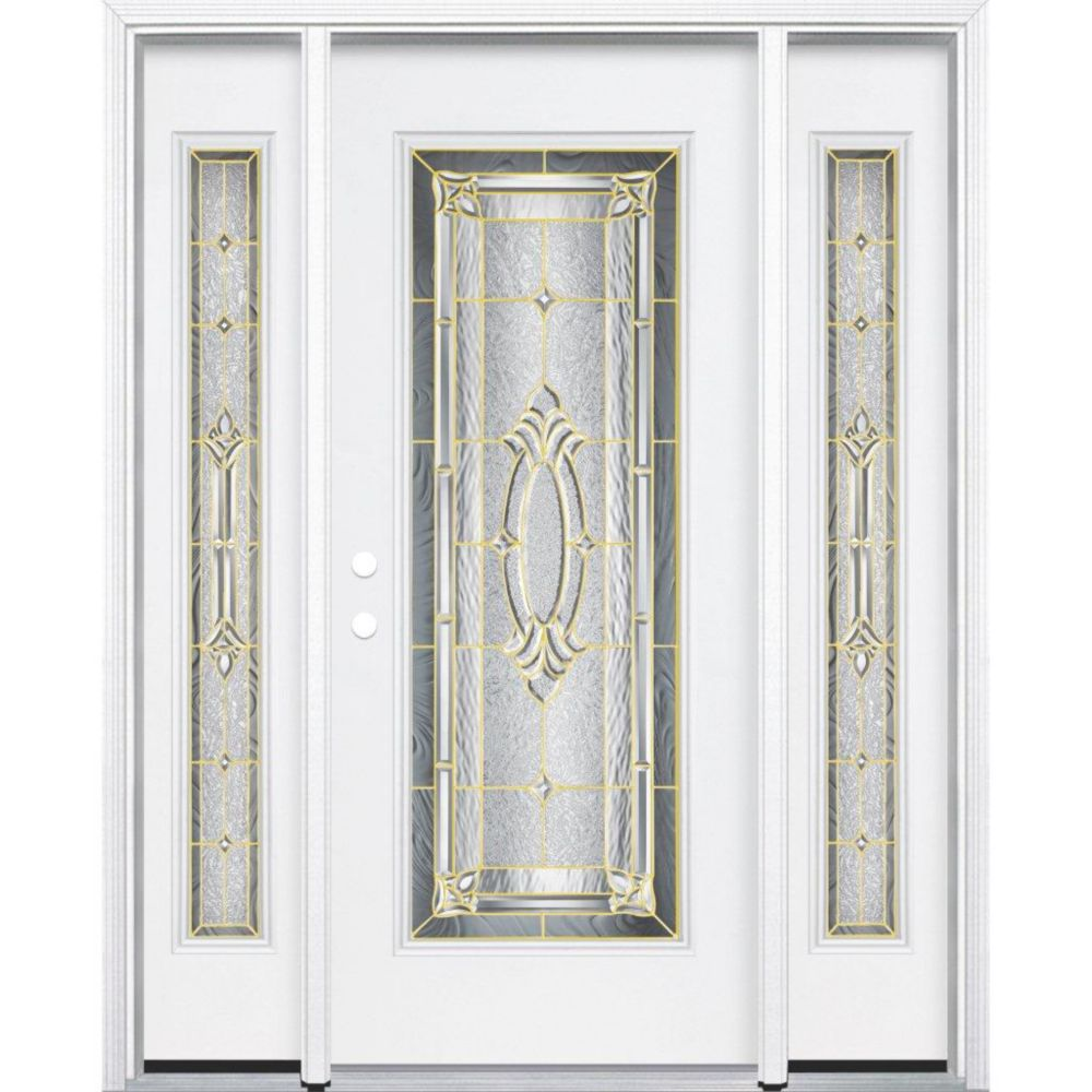 69-inch x 80-inch x 6 9/16-inch Brass Full Lite Right Hand Entry Door with Brickmould
