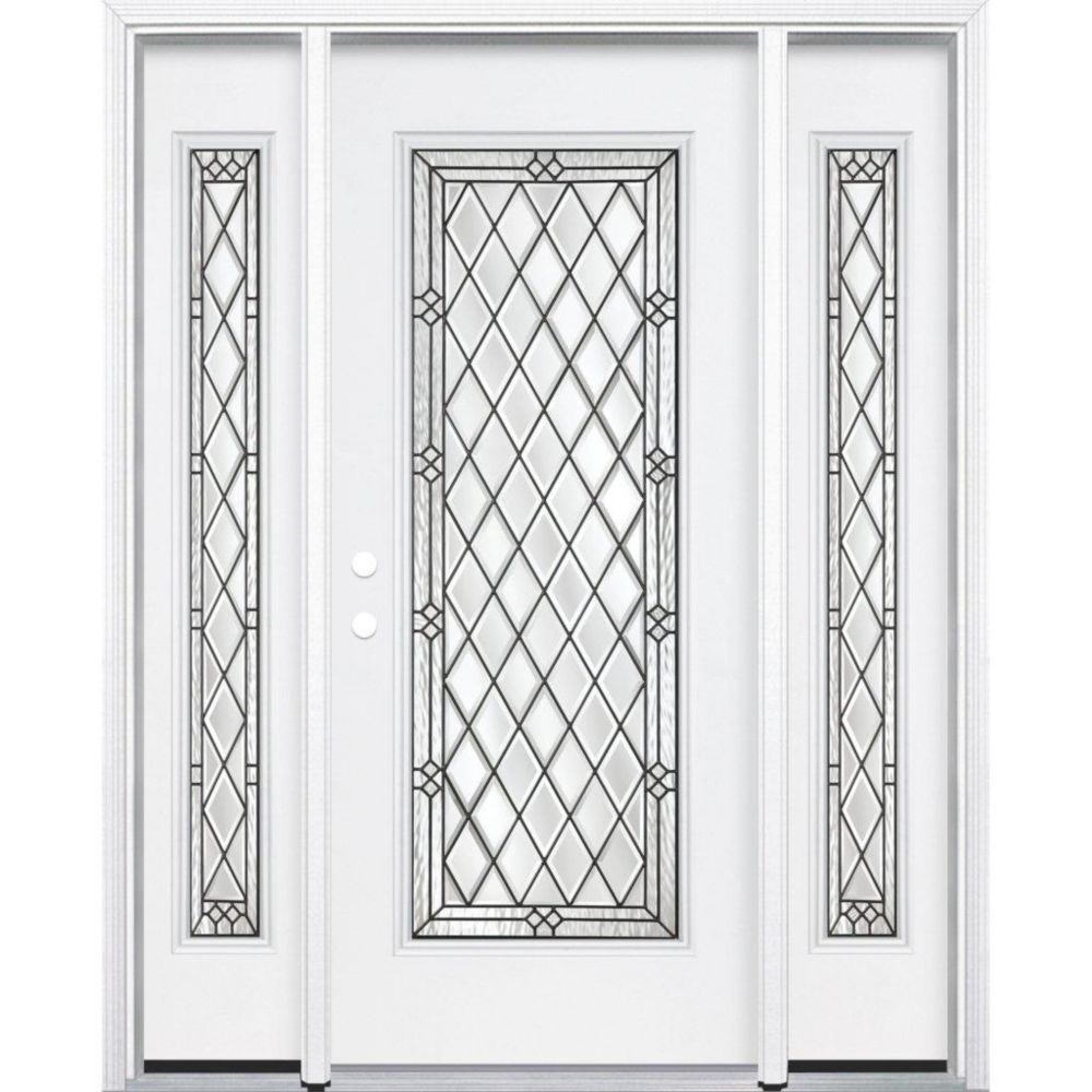 67-inch x 80-inch x 4 9/16-inch Antique Black Full Lite Right Hand Entry Door with Brickmould
