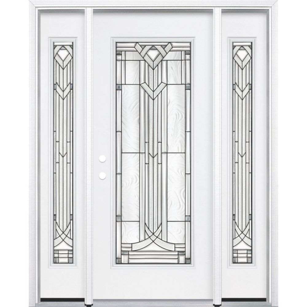 """65""""x80""""x6 9/16"""" Chatham Antique Black Full Lite Right Hand Entry Door with Brickmould"""