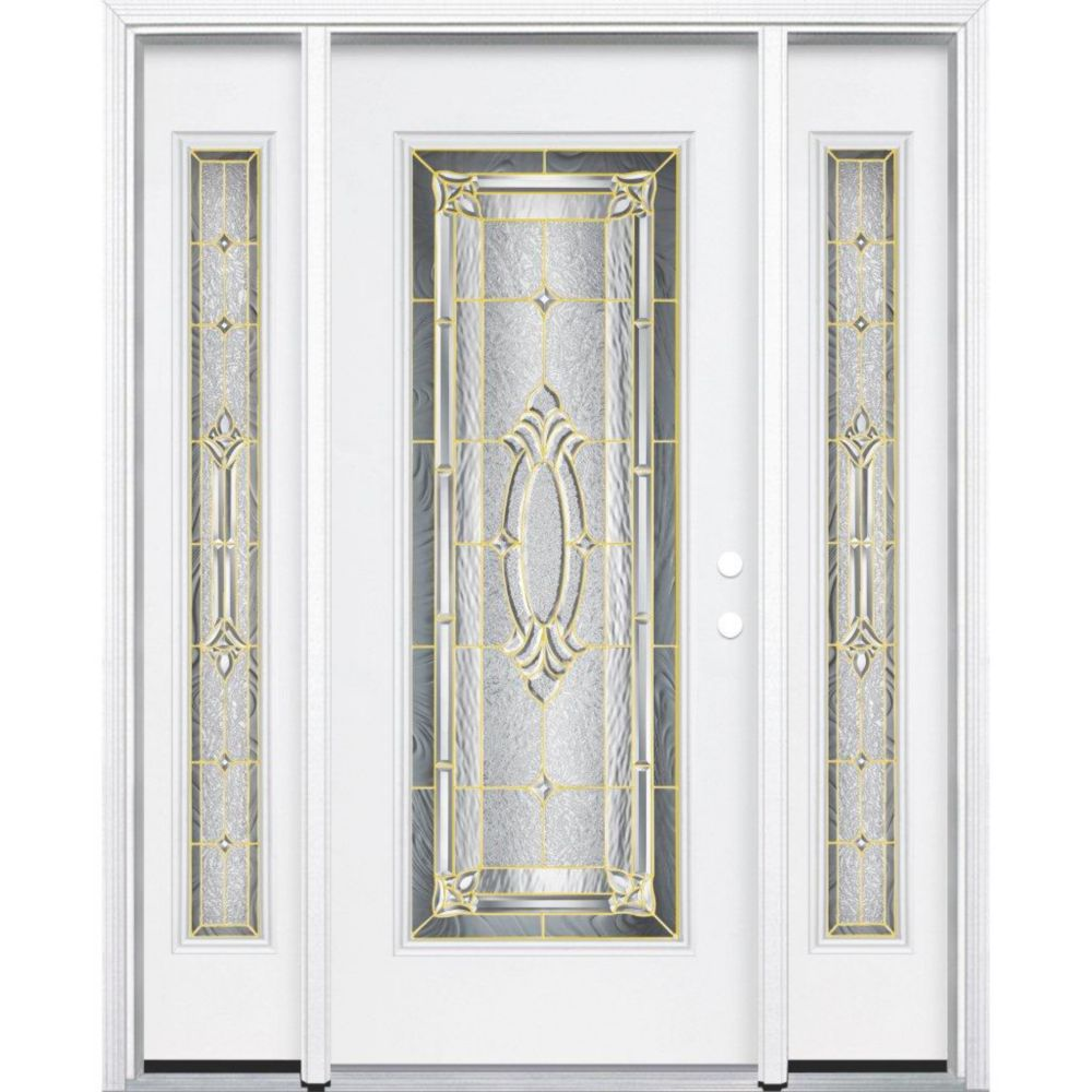 "69""x80""x4 9/16"" Providence Brass Full Lite Left Hand Entry Door with Brickmould"