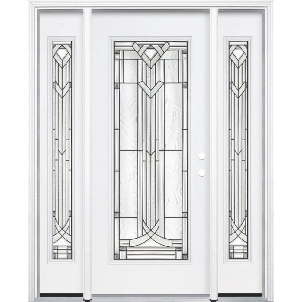 67-inch x 80-inch x 4 9/16-inch Antique Black Full Lite Left Hand Entry Door with Brickmould