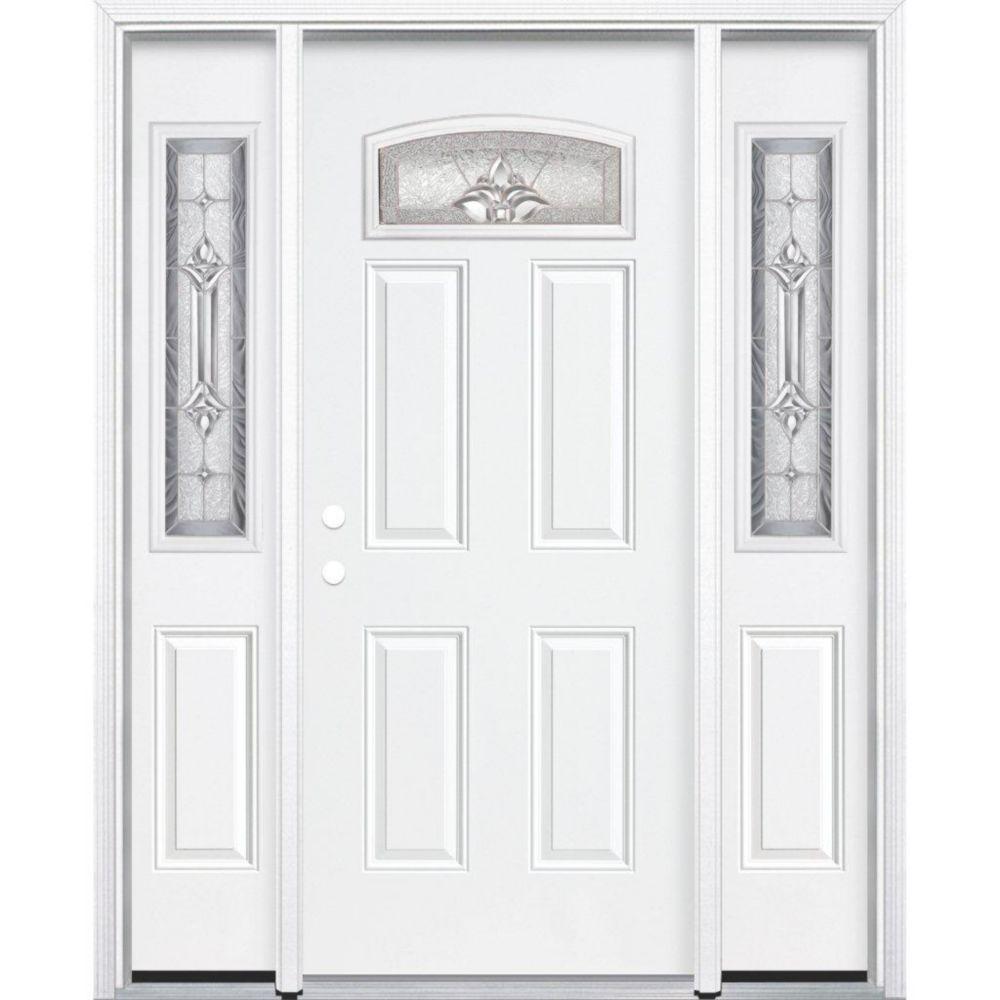 69-inch x 80-inch x 4 9/16-inch Nickel Camber Fan Lite Right Hand Entry Door with Brickmould