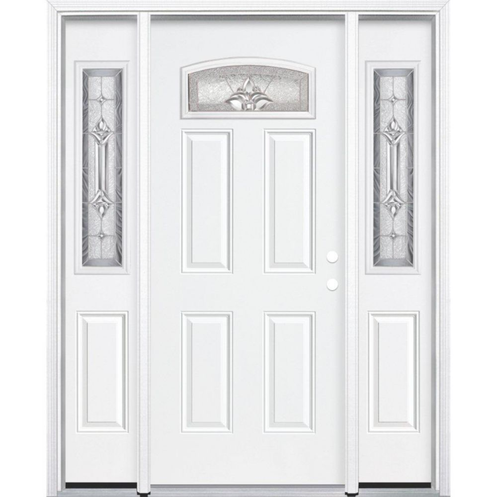 69-inch x 80-inch x 4 9/16-inch Nickel Camber Fan Lite Left Hand Entry Door with Brickmould