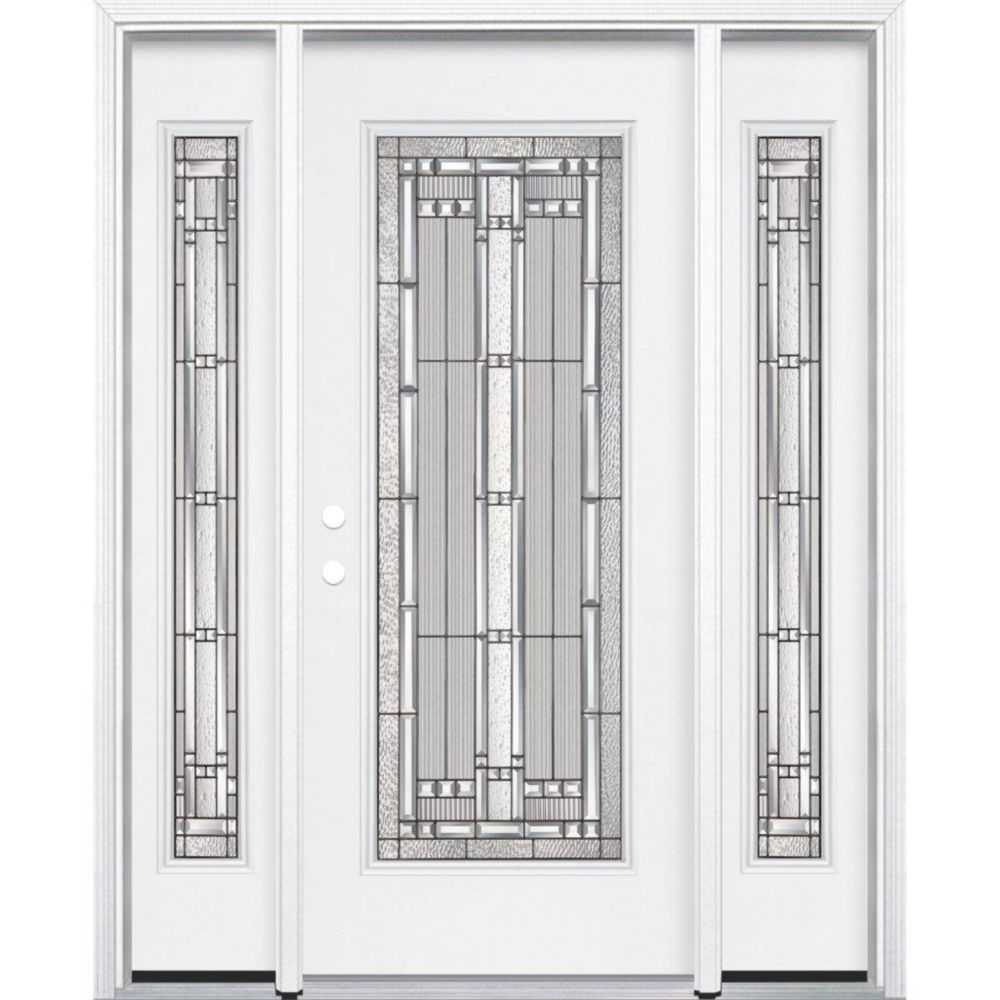Masonite 69 Inch X 80 Inch X 6 9 16 Inch Antique Black Full Lite Right Hand Entry Door With