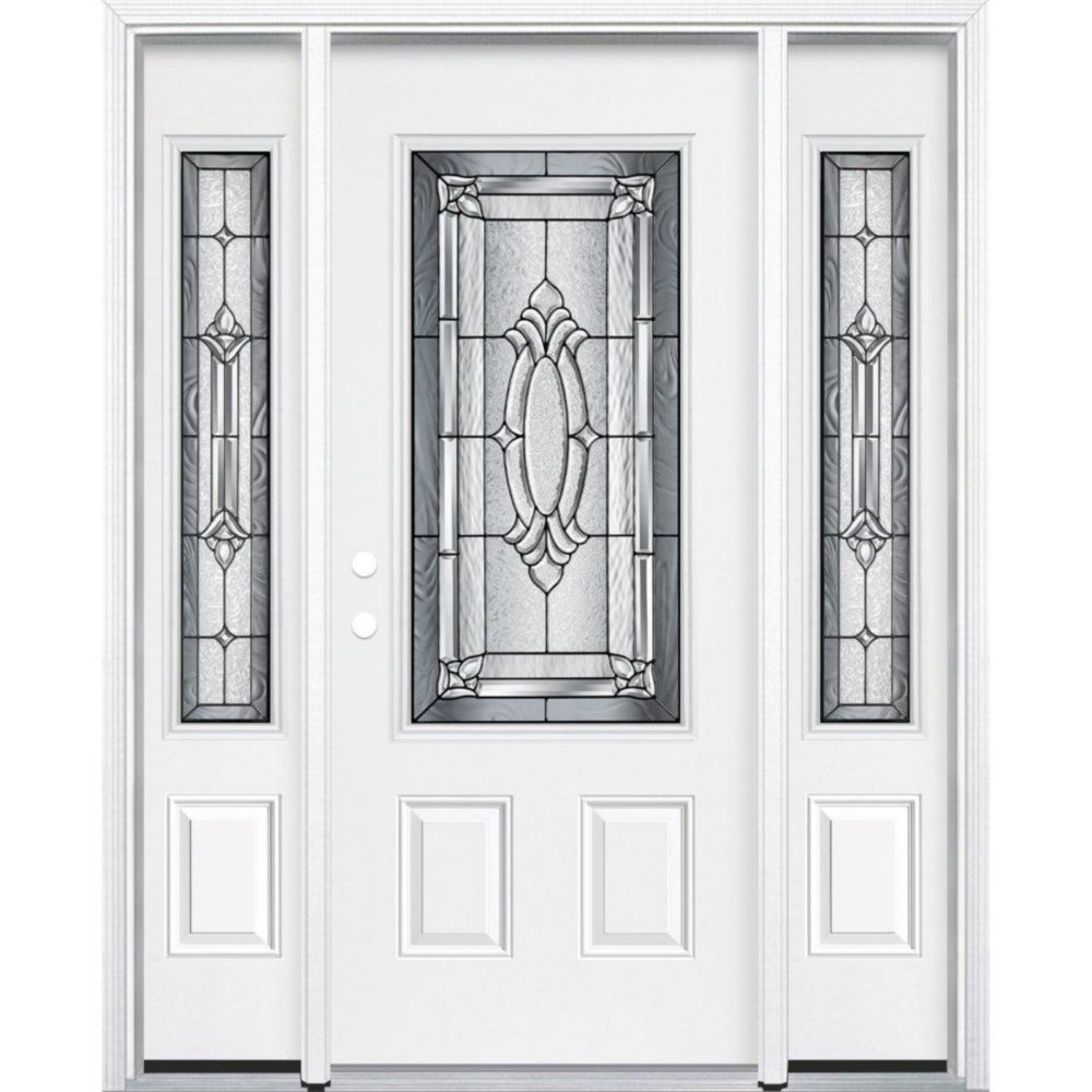 65-inch x 80-inch x 4 9/16-inch Antique Black 3/4-Lite Right Hand Entry Door with Brickmould