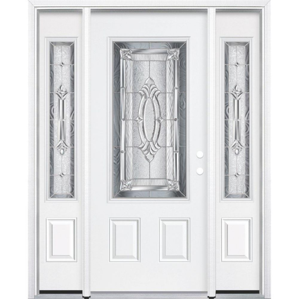 69-inch x 80-inch x 4 9/16-inch Nickel 3/4-Lite Left Hand Entry Door with Brickmould