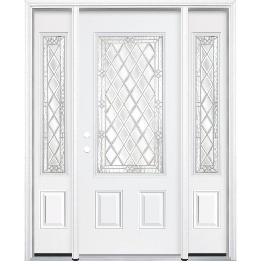 69-inch x 80-inch x 4 9/16-inch Nickel 3/4-Lite Right Hand Entry Door with Brickmould