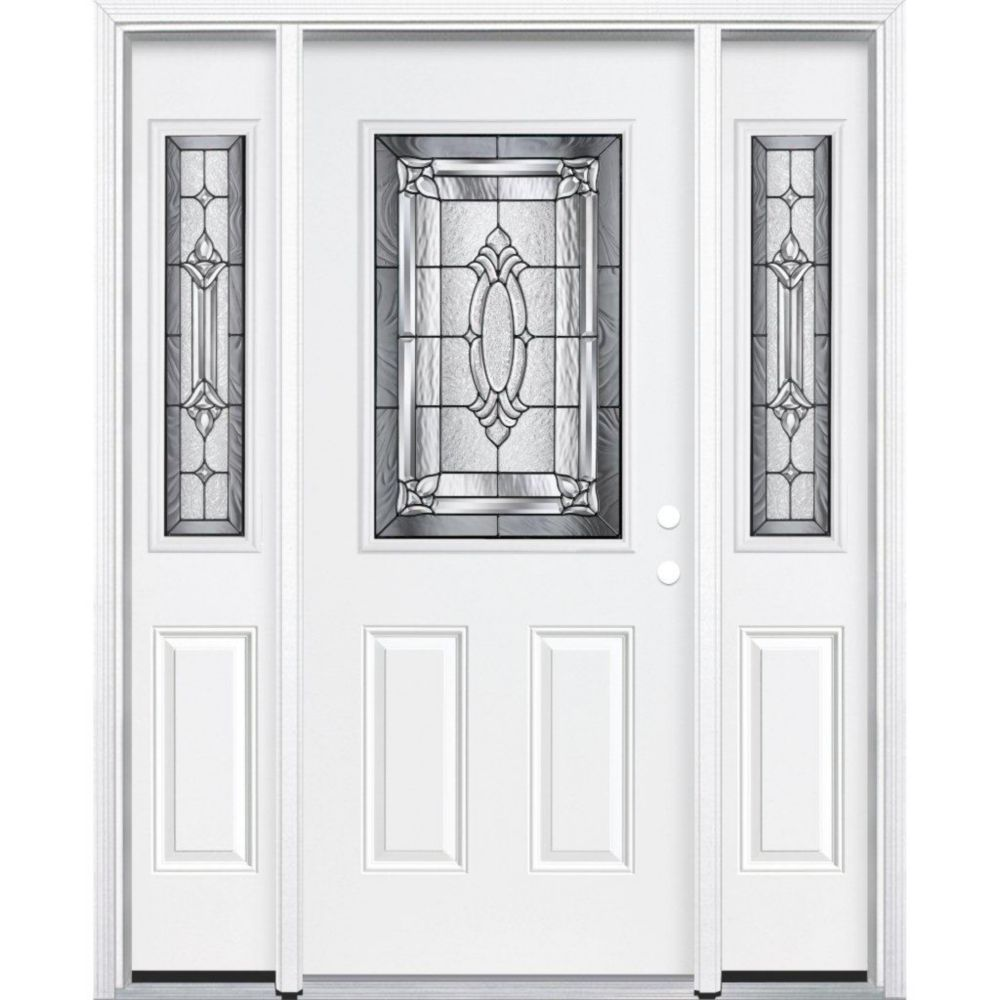 "67""x80""x4 9/16"" Providence Antique Black Half Lite Left Hand Entry Door with Brickmould 575842 in Canada"