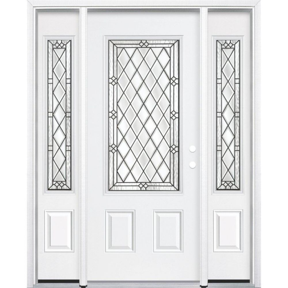 69-inch x 80-inch x 4 9/16-inch Antique Black 3/4-Lite Left Hand Entry Door with Brickmould