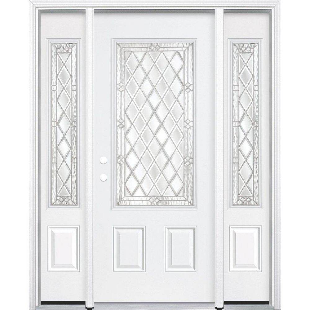 Masonite 65-inch x 80-inch x 4 9/16-inch Nickel 3/4-Lite Right Hand Entry Door with Brickmould - ENERGY STAR®