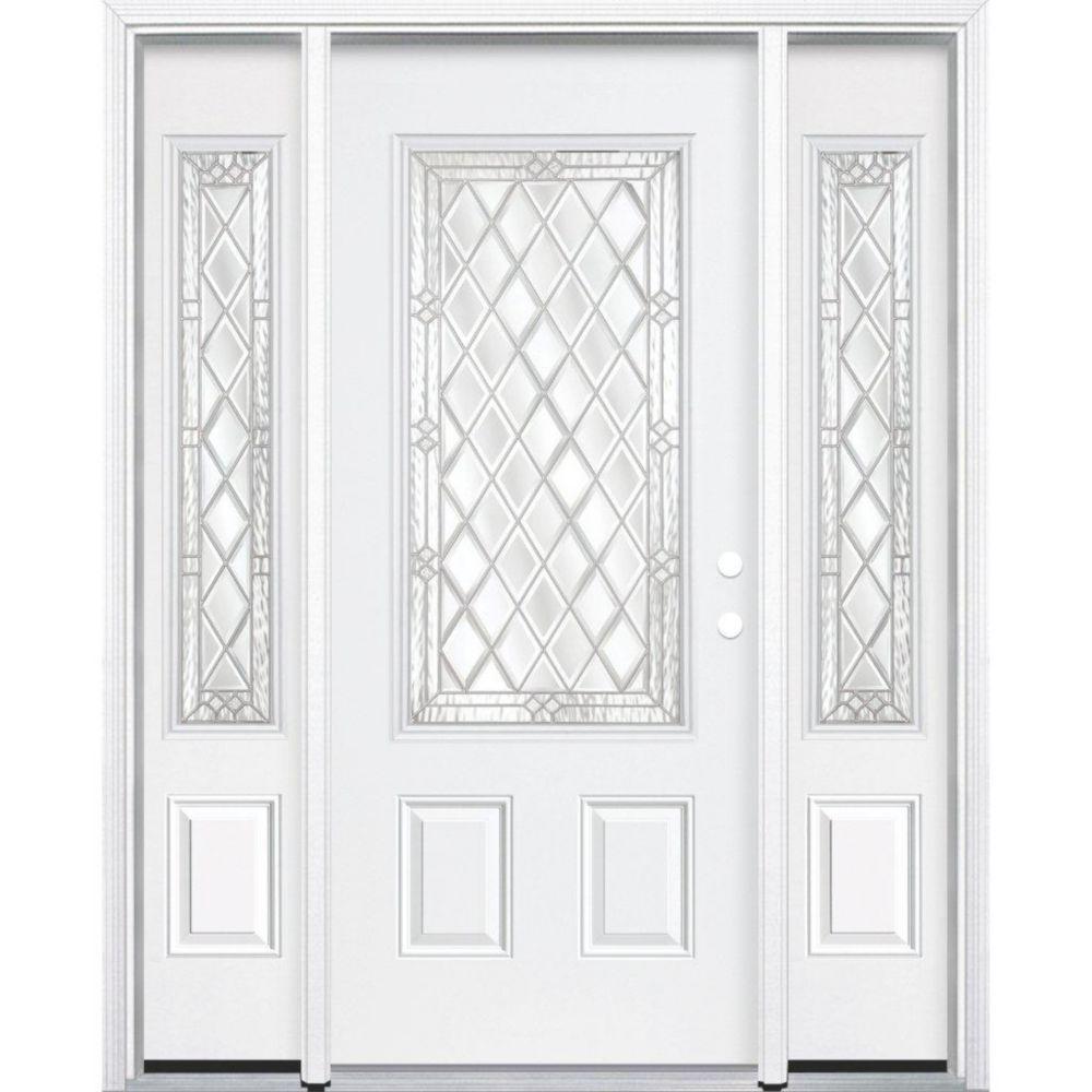 69-inch x 80-inch x 4 9/16-inch Nickel 3/4-Lite Left Hand Entry Door with Brickmould