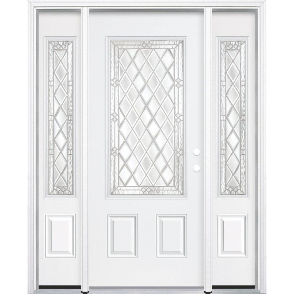67-inch x 80-inch x 6 9/16-inch Nickel 3/4-Lite Left Hand Entry Door with Brickmould