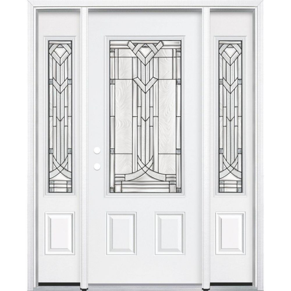 67-inch x 80-inch x 4 9/16-inch Antique Black 3/4-Lite Right Hand Entry Door with Brickmould