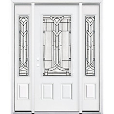 65-inch x 80-inch x 6 9/16-inch Antique Black 3/4-Lite Right Hand Entry Door with Brickmould