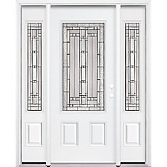65-inch x 80-inch x 4 9/16-inch Antique Black 3/4-Lite Left Hand Entry Door with Brickmould - ENERGY STAR®