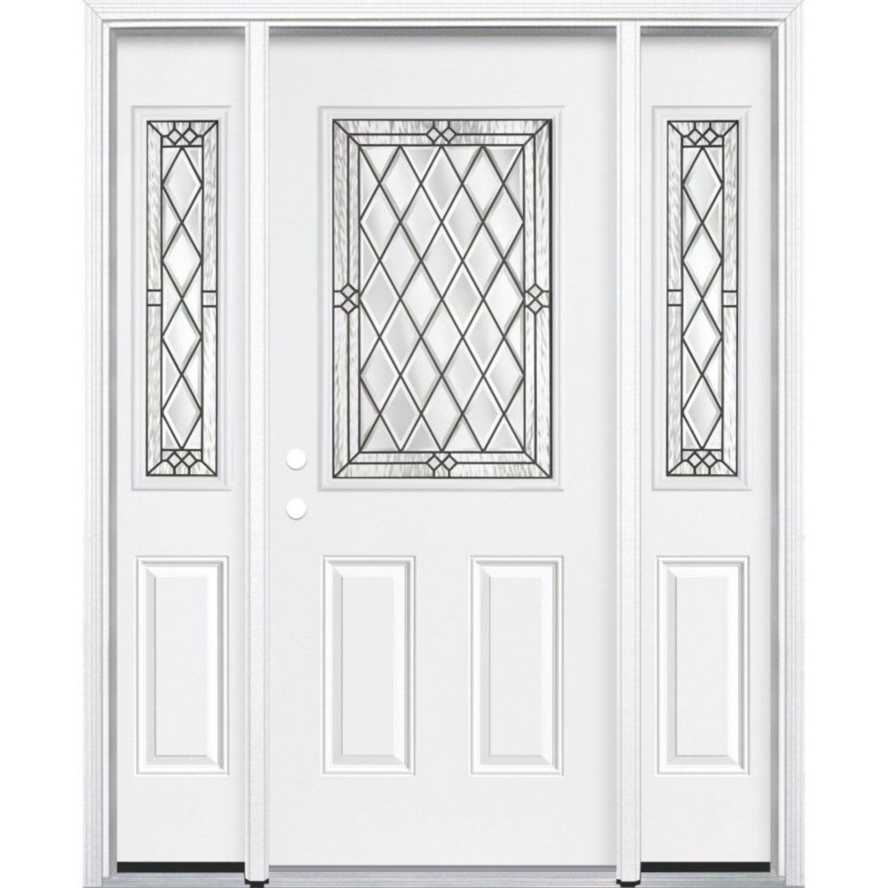67-inch x 80-inch x 6 9/16-inch Antique Black 1/2-Lite Right Hand Entry Door with Brickmould