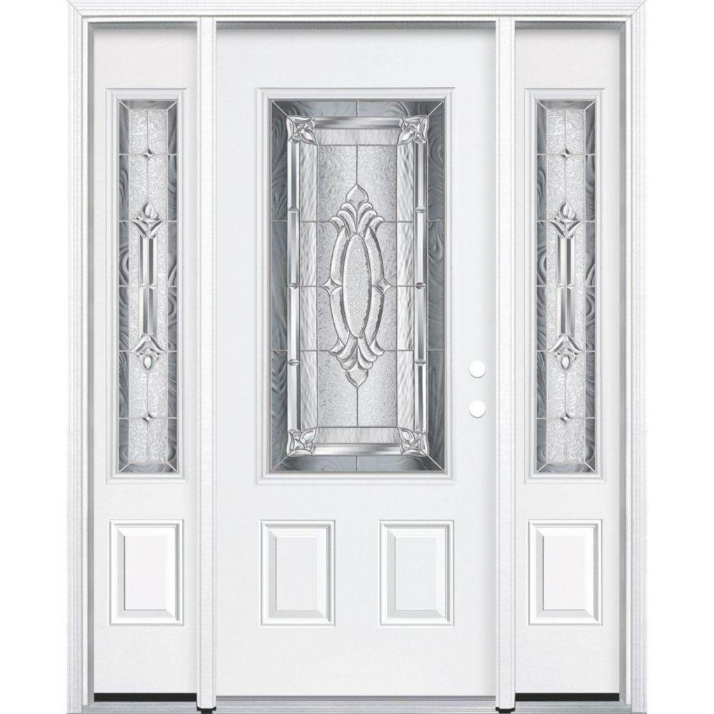 69-inch x 80-inch x 6 9/16-inch Nickel 3/4-Lite Left Hand Entry Door with Brickmould
