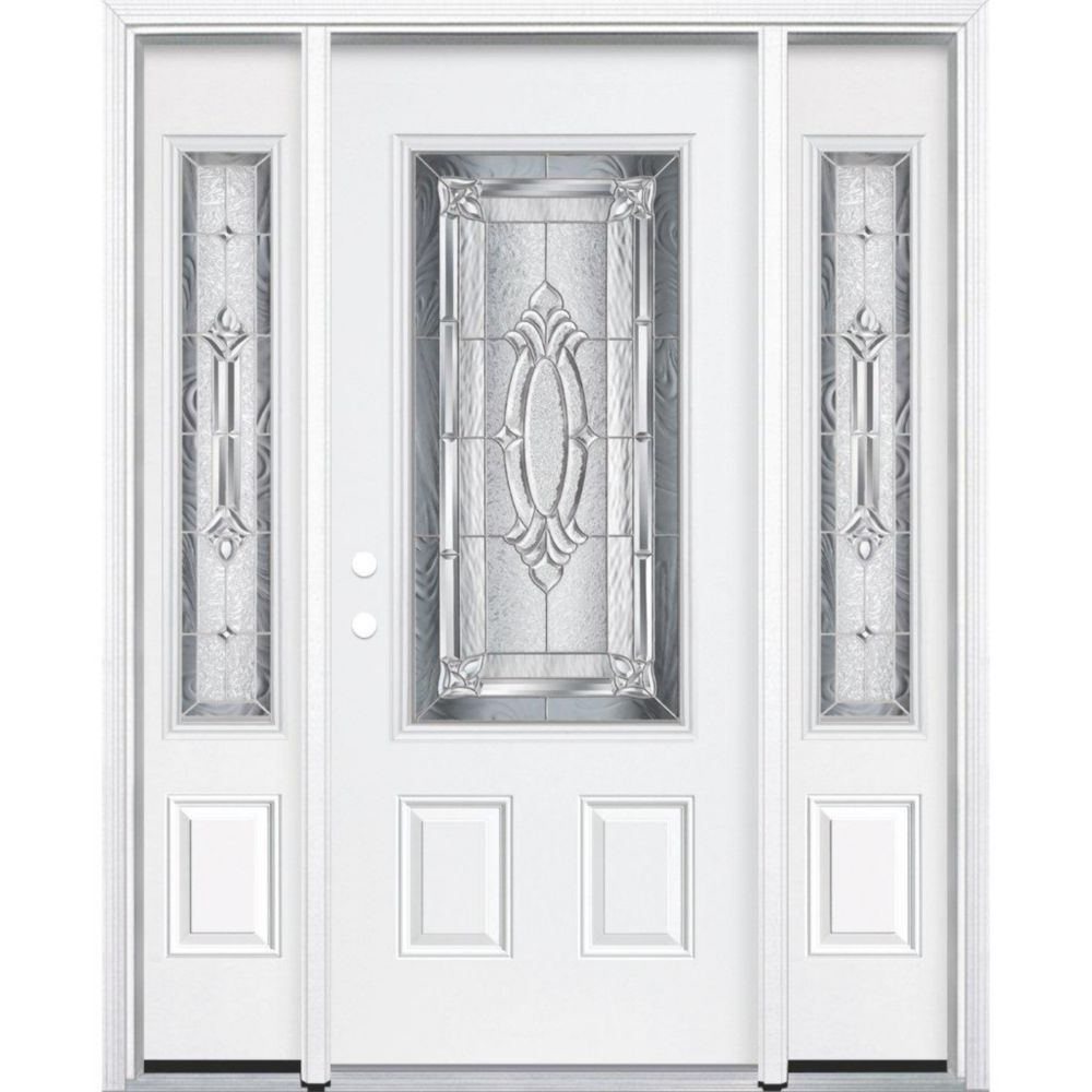 69-inch x 80-inch x 6 9/16-inch Nickel 3/4-Lite Right Hand Entry Door with Brickmould