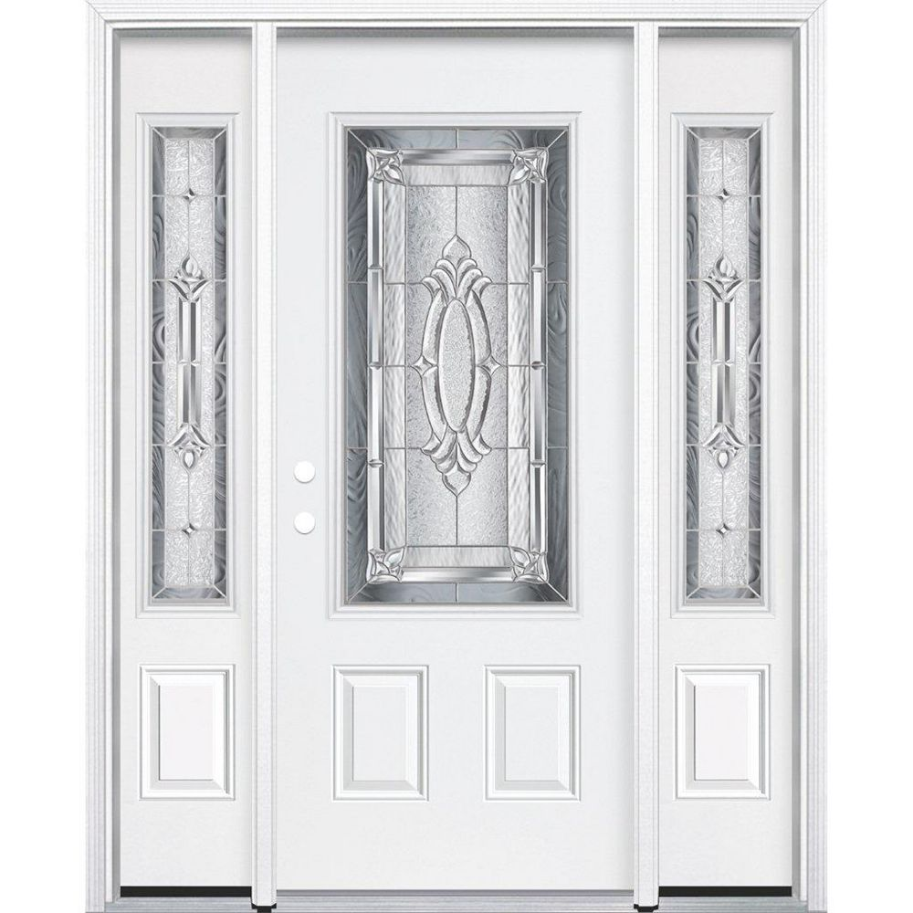 Masonite 67-inch x 80-inch x 4 9/16-inch Nickel 3/4-Lite Right Hand Entry Door with Brickmould - ENERGY STAR®