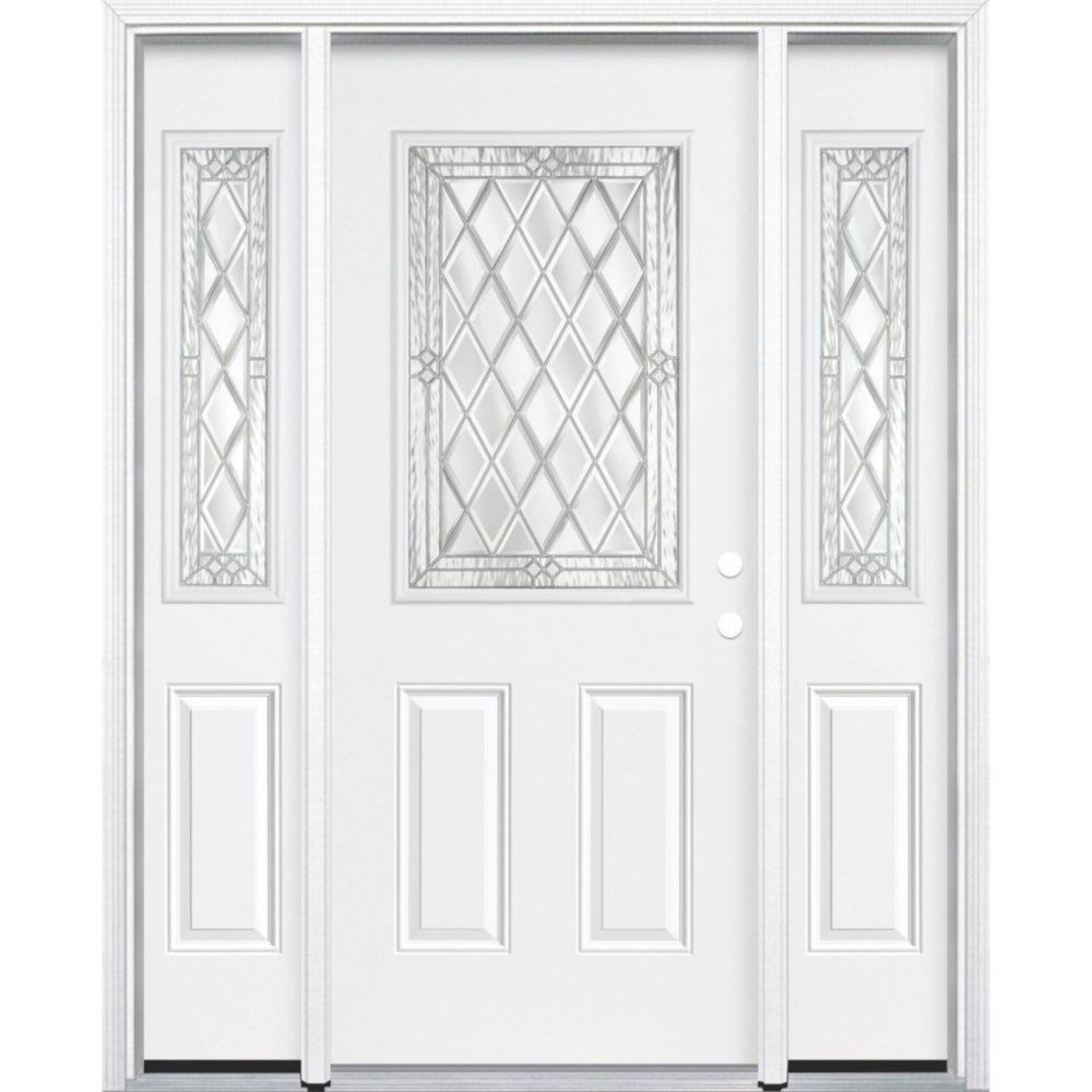67-inch x 80-inch x 6 9/16-inch Nickel 1/2-Lite Left Hand Entry Door with Brickmould