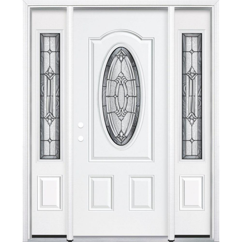 "67""x80""x6 9/16"" Providence Antique Black 3/4 Oval Lite Left Hand Entry Door with Brickmould"