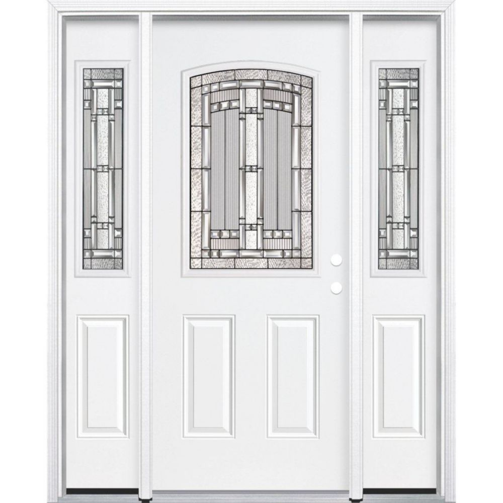 67-inch x 80-inch x 6 9/16-inch Antique Black 1/2-Lite Left Hand Entry Door with Brickmould