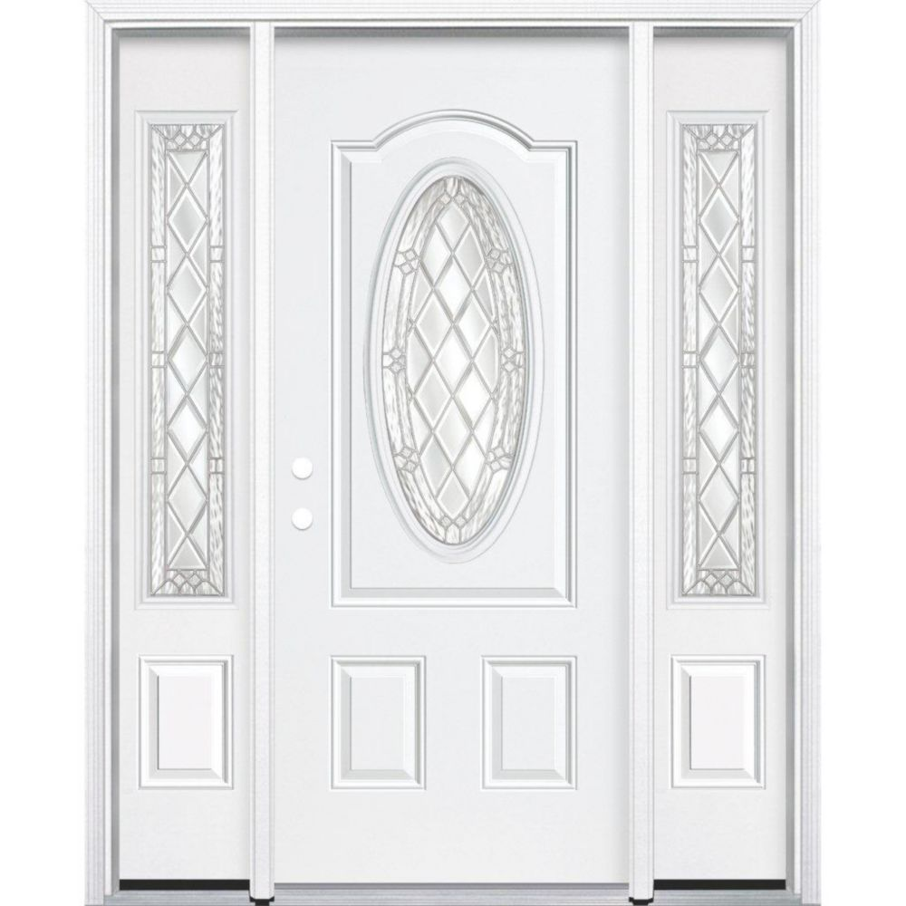 65-inch x 80-inch x 6 9/16-inch Nickel 3/4 Oval Lite Right Hand Entry Door with Brickmould