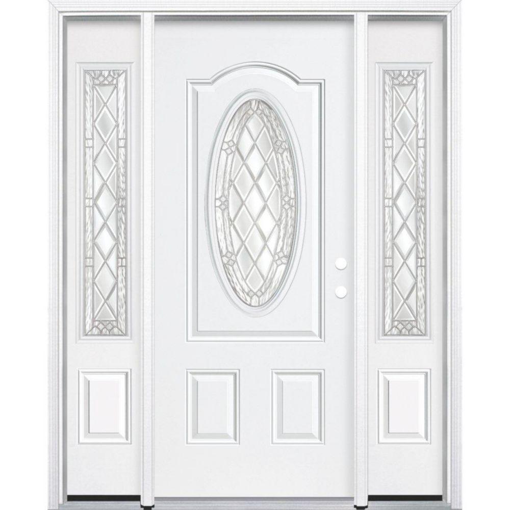 """65""""x80""""x6 9/16"""" Halifax Nickel 3/4 Oval Lite Left Hand Entry Door with Brickmould"""