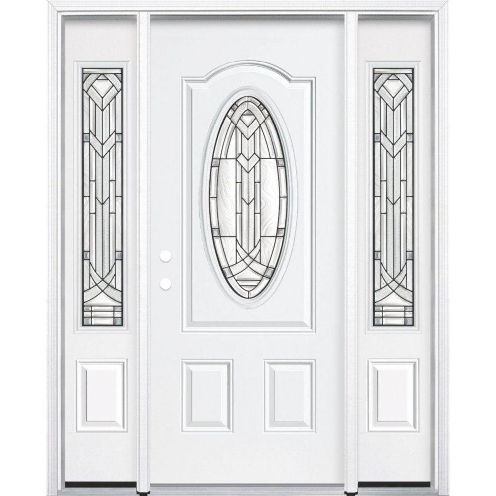 """65""""x80""""x4 9/16"""" Chatham noir antique ver. 3/4 oval porte d'entrée moulure à brique m. droite"""