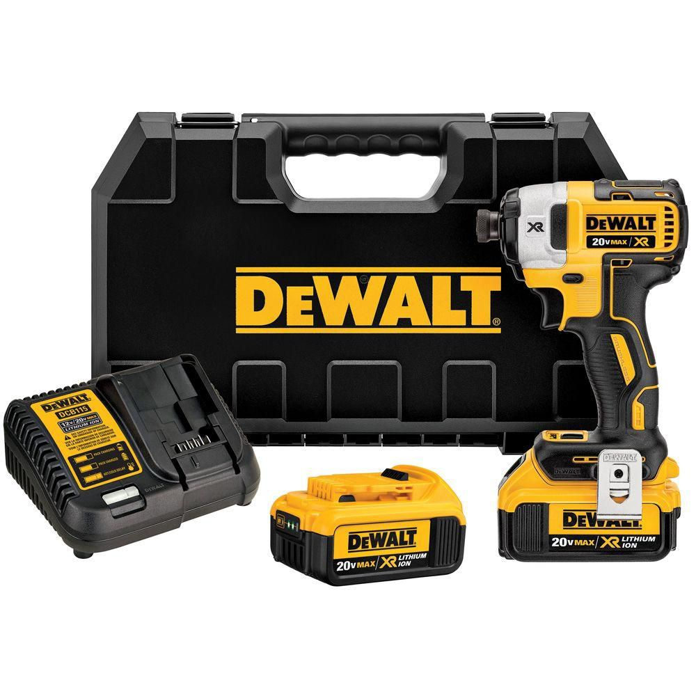 DEWALT 20V MAX XR Lithium-Ion Cordless Brushless 1/4-inch Impact Driver with 2 Batteries, Charger and Case