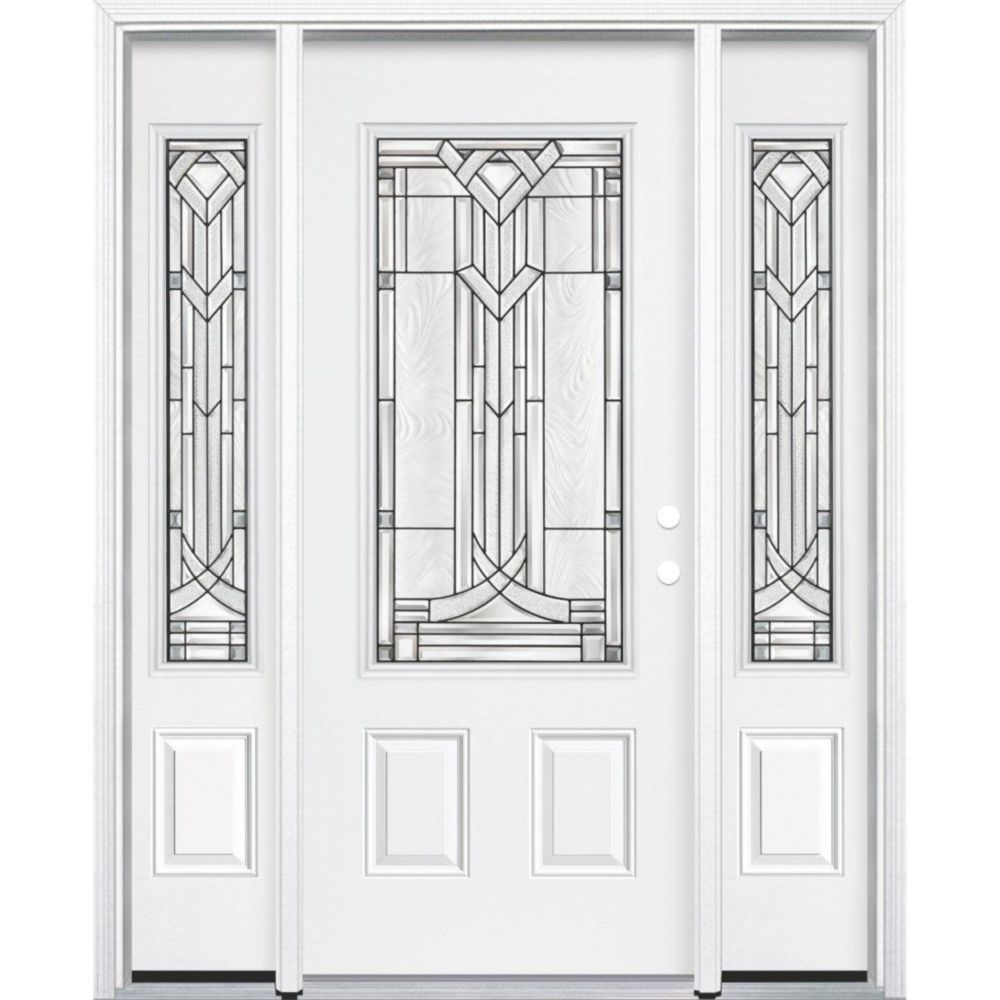 67-inch x 80-inch x 6 9/16-inch Antique Black 3/4-Lite Left Hand Entry Door with Brickmould