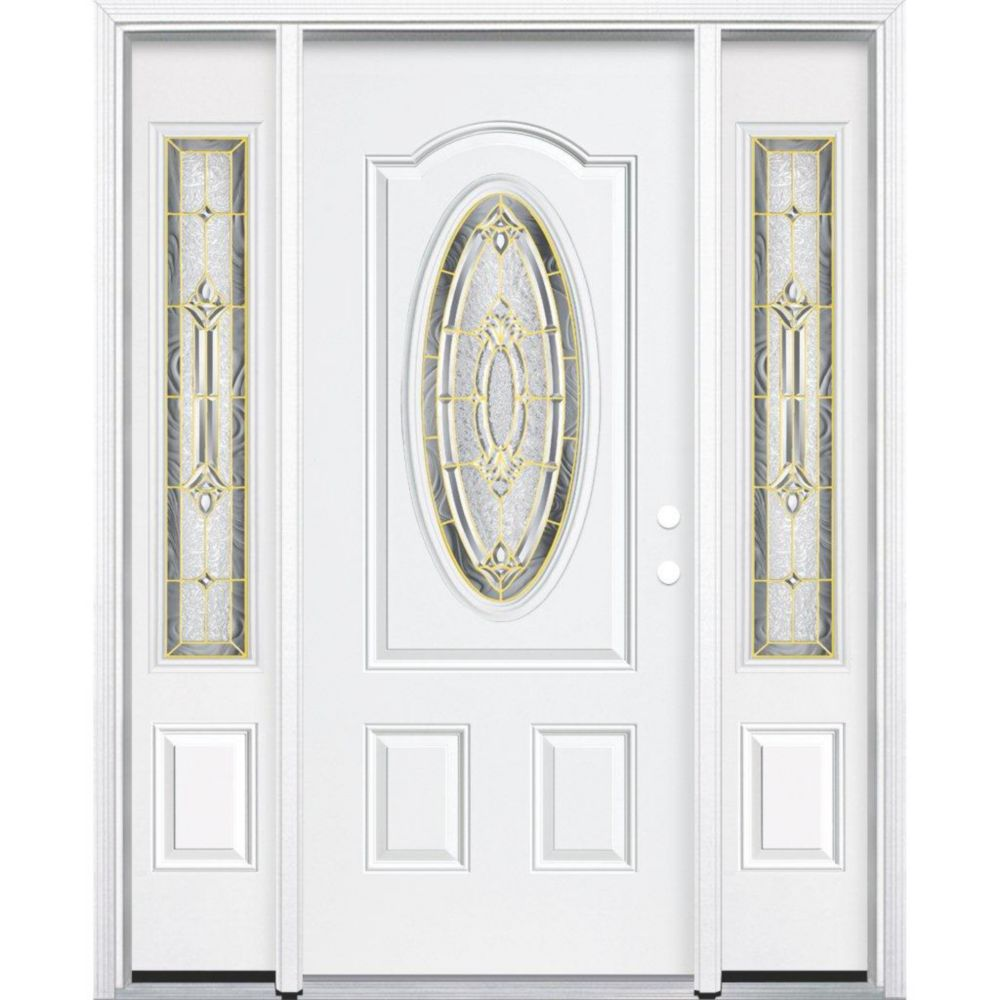 69-inch x 80-inch x 4 9/16-inch Brass 3/4 Oval Lite Left Hand Entry Door with Brickmould