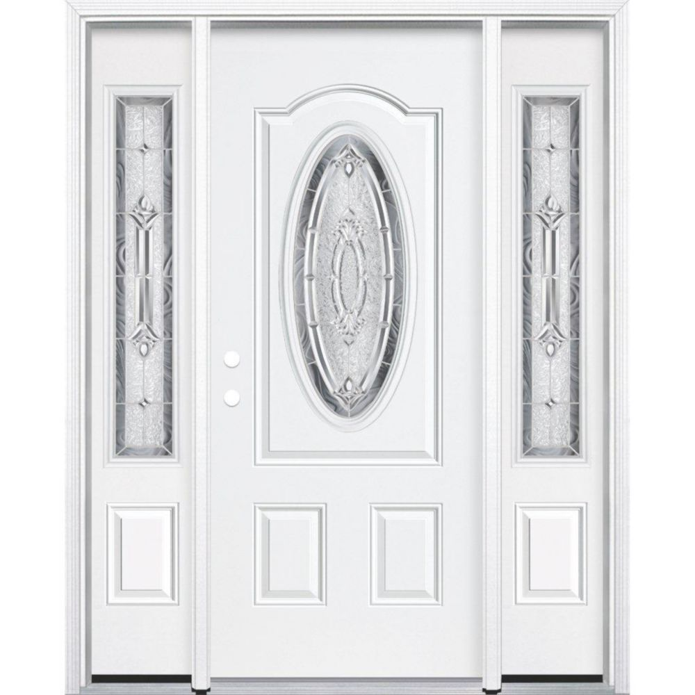 "69""x80""x4 9/16"" Providence Nickel 3/4 Oval Lite Right Hand Entry Door with Brickmould"