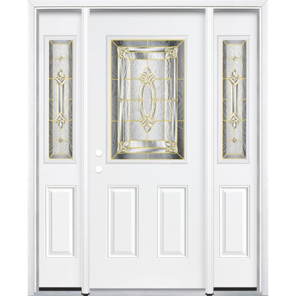 69-inch x 80-inch x 6 9/16-inch Brass 1/2-Lite Right Hand Entry Door with Brickmould
