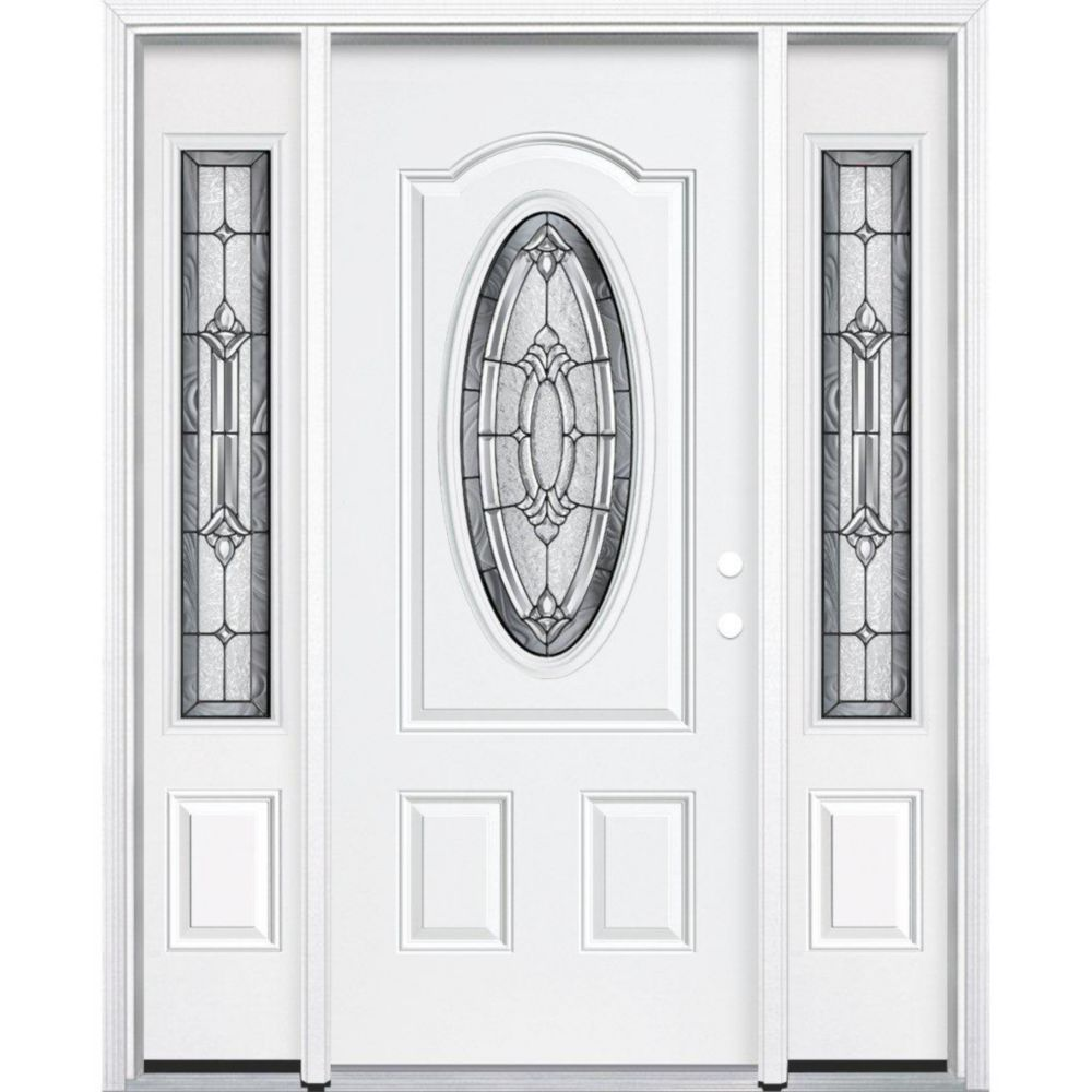 67-inch x 80-inch x 4 9/16-inch Antique Black 3/4 Oval Lite Right Hand Entry Door with Brickmould