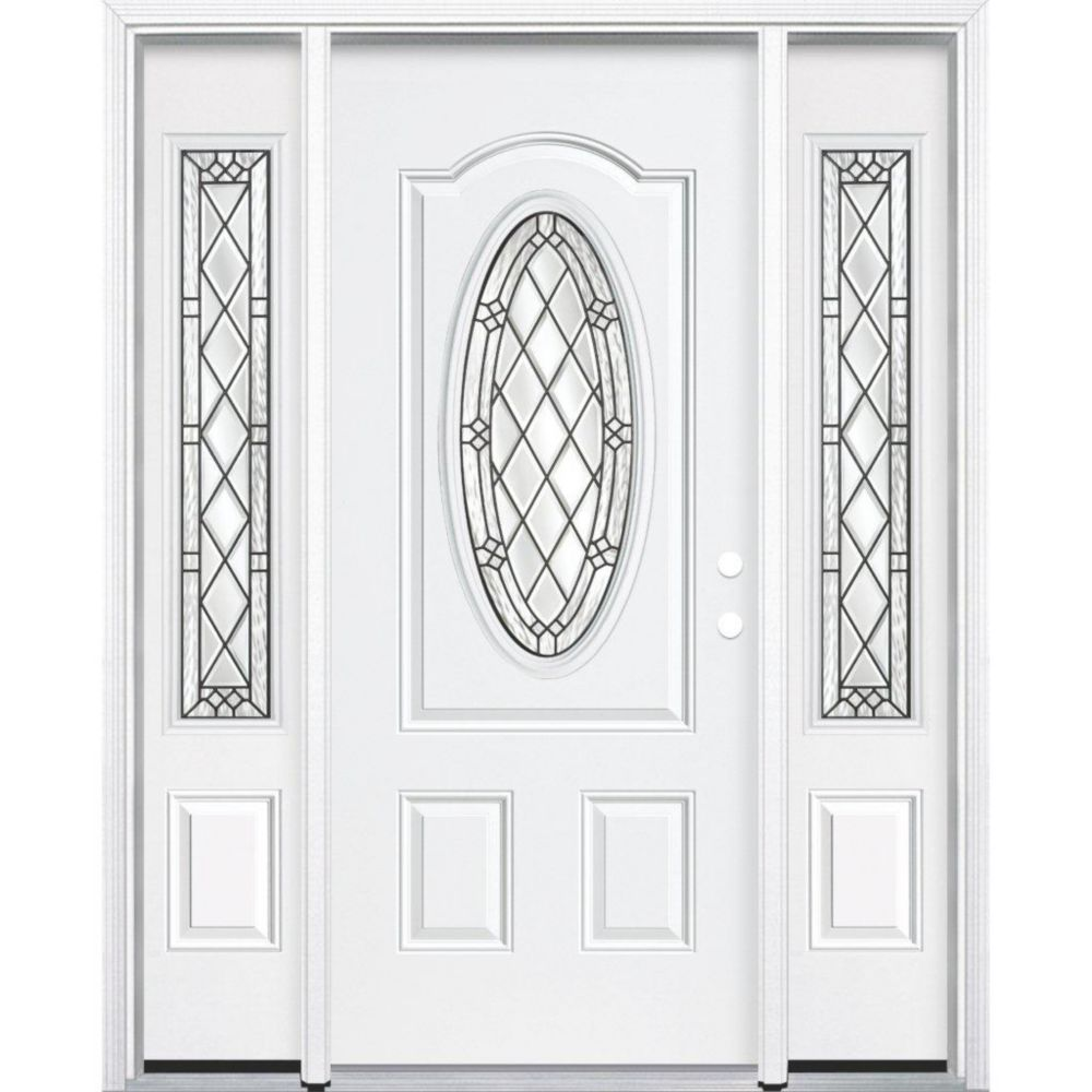 67-inch x 80-inch x 4 9/16-inch Antique Black 3/4 Oval Lite Left Hand Entry Door with Brickmould