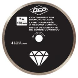 QEP 7 Inches Diameter Continuous Rim Diamond Tile Saw Blade 7/8-5/8 Inches Arbor For Wet Cutting