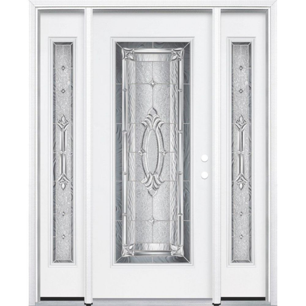 "65""x80""x4 9/16"" Providence Nickel Full Lite Left Hand Entry Door with Brickmould"
