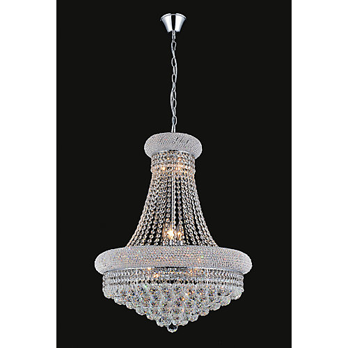 20-inch Crystal Beaded Pendent Light Fixture in Polished Chrome