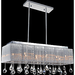 CWI Lighting Silver Sheer With Clear Tear Drops