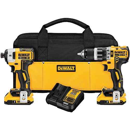 DEWALT 20V MAX XR Li-Ion Cordless Brushless Hammer Drill/Impact Combo Kit (2-Tool) w/ (2) Batteries 2Ah and Charger