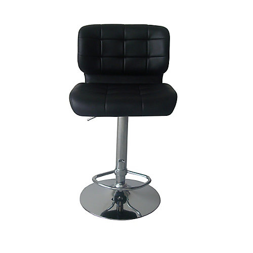 Deluxe Leather Metal Chrome Contemporary Low Back Armless Bar Stool with Black Faux Leather Seat