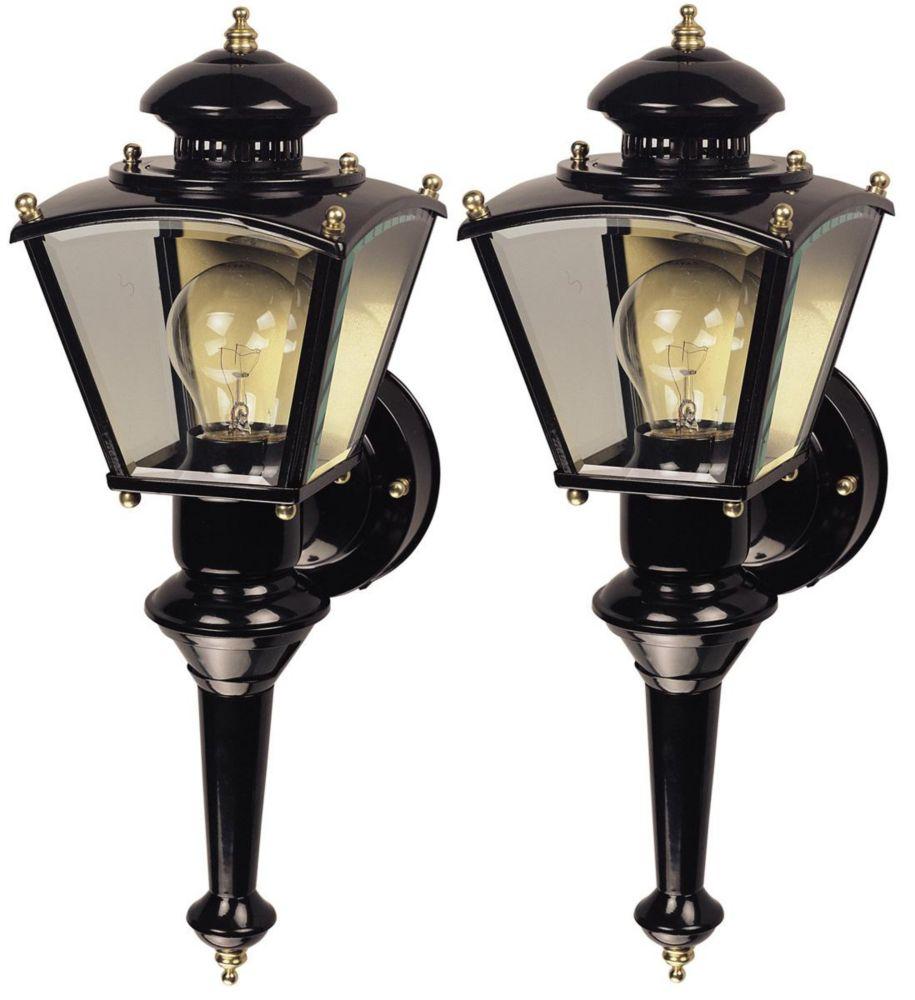 2 Lanternes de carrosse Charleston de 150 degrés - noir