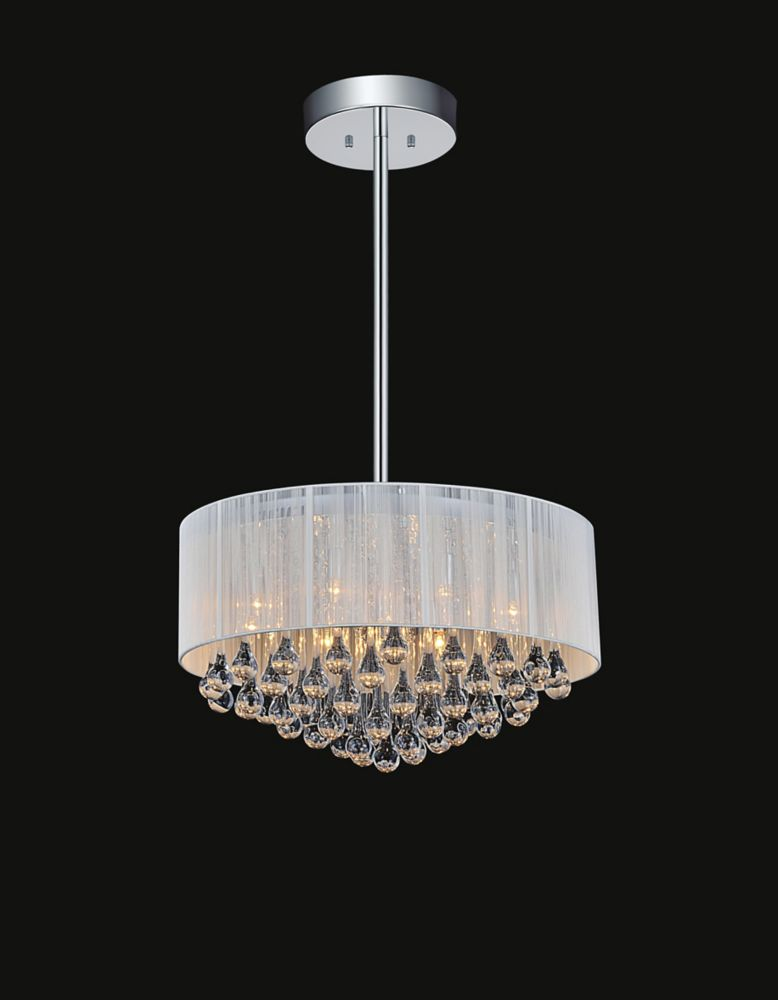 CWI Lighting 22-inch White Sheer Chandelier