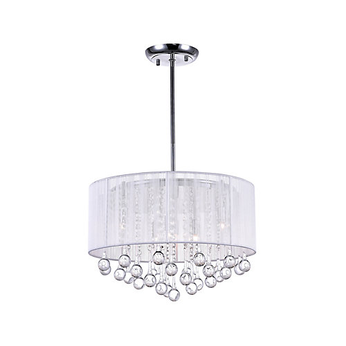 White Sheer 18 Inches Chandelier