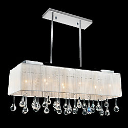 CWI Lighting 10-Light Drum Shade Tear Drop Pendant Chandelier in Chrome