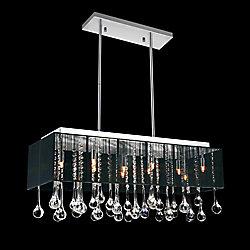 Lustre avec abat-jour noir diaphane et pendants transparents de style gouttelettes deau
