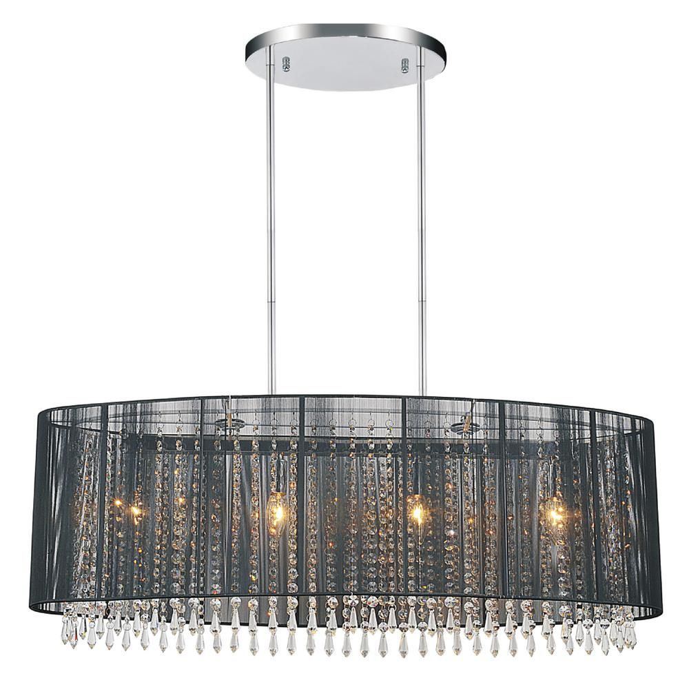 Crystal World Inc Oval Black Sheer 6 Light Chandelier