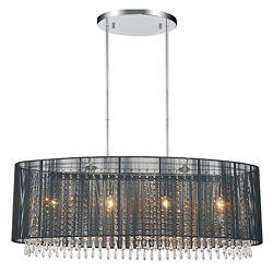 CWI Lighting Oval Black Sheer 6 Light Chandelier