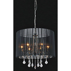 Black Sheer 6 Light Chandelier